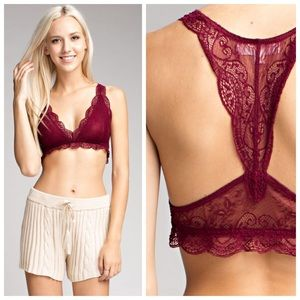 New red wine Lace Racerback bralette